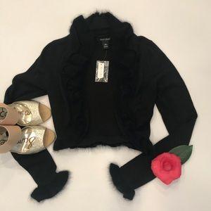 NWT WHBM cropped black shrug sweater